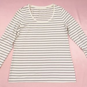 Lands' End White with Black Stripes Crew Neck Tee